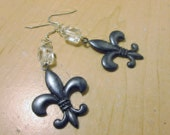 Earrings, Black Metal Fleur De Lis , Enamel and Crystal Drop and Dangle Earrings, Gift For Any Age,  Woman, Small and Lovely Shape