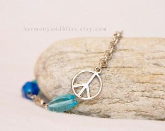 Peace sign charm bracelet blue bead boho chic fashion bohemian jewelry