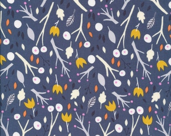 Whimsical Wood - Sweet Autumn Day - Cloud9 Fabrics - Little Cube - Organic Cotton - Tulips Navy Trees