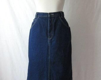 80s Denim Skirt Blue Jean Skirt Calvin Klein 1980s Vintage Denim Skirt