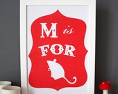 M is for Mouse poster - red