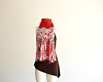 Christmas Scarf, Red, White, Green Ugly Christmas Sweater Scarf Holidays Womens Holiday Fashion Accessory