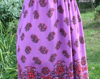 SALE was 29.00 Long purple rayon Angie dress paisley Large