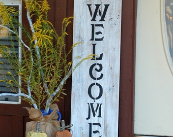 Fall Front Door Welcome Sign, Rustic Reclaimed Wood, Large Wood Porch Sign, House Distressed Welcome Sign Yard Sign Farm Standing Wooden