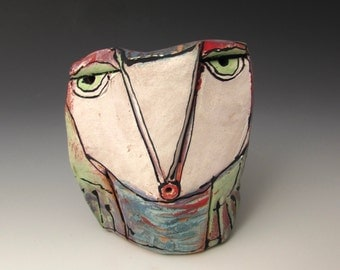 """Owl, Owl art, Clay owl, clay sculpture, """"Owl Person Singing Love into Being"""", 3-3/4"""" tall"""