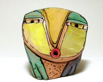 "Owl art, ceramic owl sculpture, whimsical, colorful owl figurine, ""Owl Person Singing her Truth"""