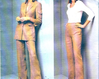 Montana designer suit womens jacket and pants sewing pattern Vogue 2649 Paris original UNCUT Sz 8 to 12