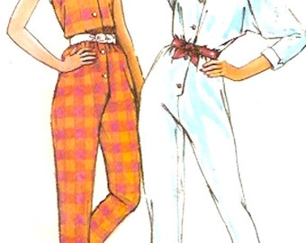 80s Halter jumpsuit with short or long sleeves vintage sewing pattern Pinup Style 3829 Sz 8 UNCUT