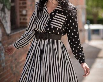 Vintage Black And White Polka Dots And Stripes Dress (Size Medium)