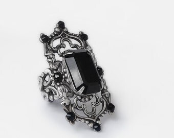 Black Gothic Ring Medieval Gothic Jewelry Swarovski Crystal Statement Silver Ring Victorian Cocktail Large Black Ring nickel free jewelry