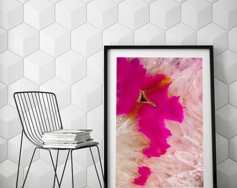 Mineral Photography - (Print #016)  Hot Pink Agate Slice - Fine Art Print