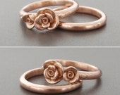 Solid 14K Rose Gold | The Ashley Wedding Set (Size 6.5) | Handsculpted and Cast Ring Set