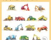 Cute Trucks Watercolor Clip Art - Kids Construction Watercolour Clipart PNG JPG