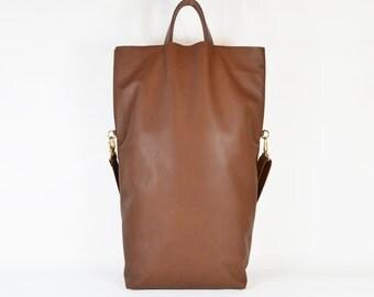 Nicole - Handmade Oversized Brown Leather Tote Bag AW15