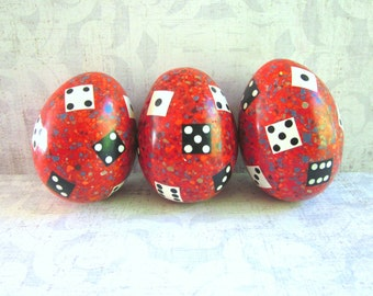 Three Vintage Red Confetti and Dice Eggs