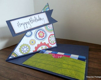 Greeting Card Happy Birthday Fun Fold With Gift Card Holder