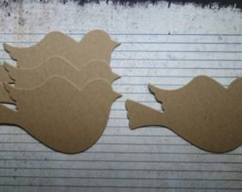 4 Bare Chipboard Large Flying Bird Die Cuts