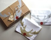 SALE - Set of 2 Rudolph Reindeer Dish Towels / Christmas Decoration / Kitchen / Hostess Gift