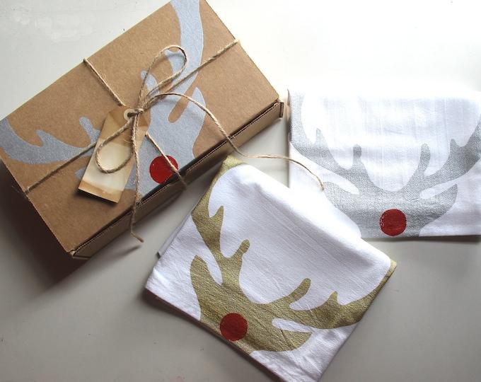Set of 2 Rudolph Reindeer Dish Towels