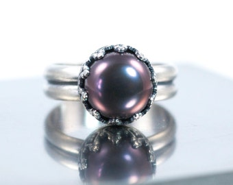 Black Pearl Ring Sterling Silver Ring, Made to Order, June Birthstone