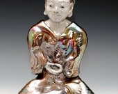 Buddha Meditation Statue in Raku Ceramics Sculpture Electric Blue Copper Red Glaze