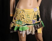 Grunge Skirt, sexy mini skirt, cute short skirt, Freak Show mini skirt, circus costume, studded punk ruffle skirt, yellow stripes, Medium
