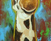 Giraffe #11 -  12x36 inch animal original oil painting by Roz