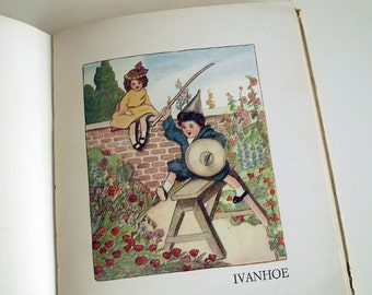 Antique Children Book, Nursery Rhymes, 1914 Let's Pretend by William Mac Harg, Illustrated by Bonnibel Butler, Color Art, Childhood Poetry