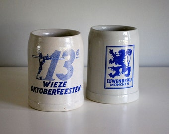 1960s Stoneware Beer Mugs Octoberfest Vintage Steins Lowenbrau Munchen, Wieze Belgium Cobalt Gray Pottery Drinking Barware Man Cave Decor