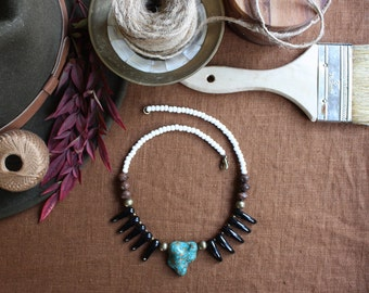 Turquoise Bohemian Necklace, Boho Necklace, Glass Bead Necklace, Boho Wedding, Glass Spikes Necklace, Bohemian Style, Wood Bead, Brass Bead