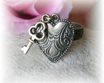 Repousse Vintage Heart Charm Ring Adjustable Skeleton Key Charm Floral Etched Sterling Silver Over Brass Ring