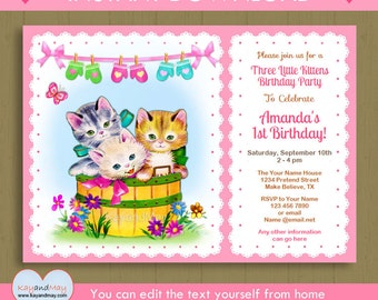 Three Little kittens birthday or baby shower invitation / kitten nursery rhyme theme printable / Instant Download #P-44H - editable text PDF