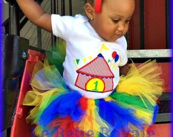 Clown Shirt, Clown Tutu, Ringmaster Birthday Party, 1ST Birthday, Circus Tutu, Rainbow Tutu, Skirt, Embroidered Shirt, First Birthday Shirt