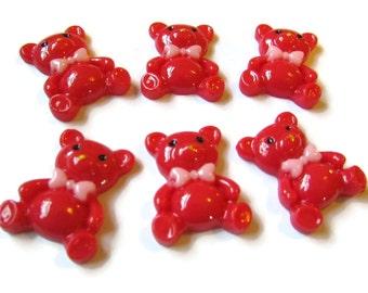 6 Red Bear Cabochons Teddy Bear with Bow Decodan Cabochon Flatback Resin Cabochons