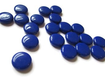 40 14mm Royal Blue Beads Acrylic Beads Flat Round Beads Plastic Coin Beads Jewelry Making Beading Supplies Loose Beads 14mm Blue Beads