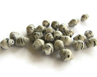 10mm White Paper Beads Uganda Paper Beads Fair Trade Beads Black and White Zebra Striped Beads Upcycled Beads African Sealed Paper Beads