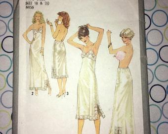 Ooh La La Vintage Uncut SIMPLICITY Under Slip & Half Slip Pattern 8862 – Size 18  20 Bust 40 42 inches- circa 1978