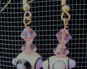 Pink white black artisan lampwork beads earrings swarovski crystals sterling silver Kdashglass