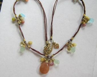 Gold Wire Wrapped Semi Precious Stones Necklace