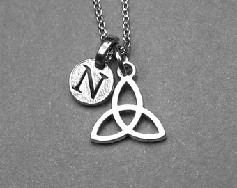Celtic necklace, celtic knot necklace, celtic trinity knot, celtic triangle necklace, personalized jewelry, initial necklace, initial charm