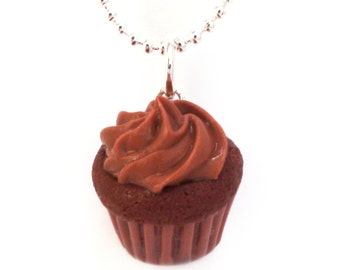 Food Jewelry Scented Chocolate Cupcake Necklace Polymer Clay Kawaii Pendant Cute Miniature Christmas Muffin Valentine's Day Gift