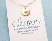 Sister Gift | Sister Necklace | Heart Charm Necklace | Friendship Jewelry | Big Sister Gift | Charm Necklace | Silver or Gold | S07