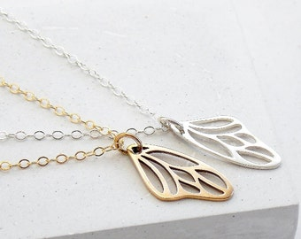 Butterfly Wing Necklace | Delicate Everyday Jewelry | Bridesmaid Gift | Wedding Jewelry | Silver or Gold