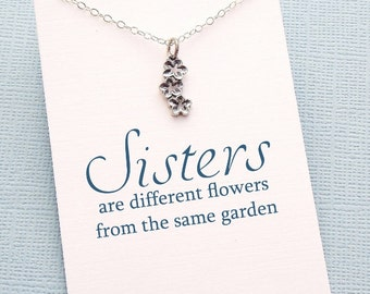 Sister Gift | Flower Necklace, Gift for Sister, Gifts for Sister, Botanical Jewelry, Big Sister Boho Gift, Sister Gift Ideas | S08