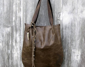 Rustic Leather Tote in Olive Grey Pull Up Hide by Stacy Leigh Ready to Ship