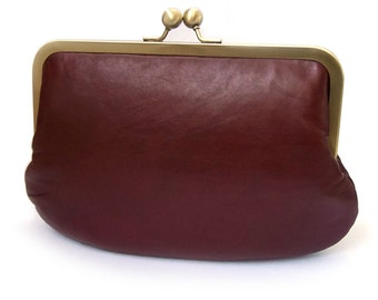 Clutch bag, brown leather purse, silk-lined, CHESTNUT handbag