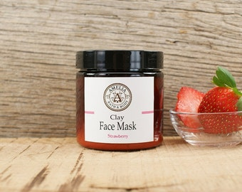 Organic Face Mask | Clay Mask, All Natural Facial, Vegan Face Mask, Natural Skincare, Face Mask Powder, Detox Mask | Strawberry Face Mask