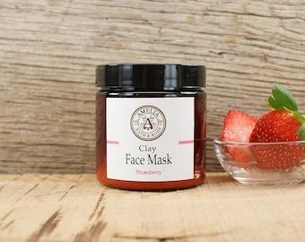 Strawberry Clay Mask | All Natural Facial, Organic Face Mask, Natural Skincare, Face Mask Powder, Detox Mask | Strawberry Face Mask