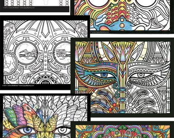 Windows to the Soul Coloring Book; Digital Download Edition, Adult Coloring Book, Digital Coloring Pages, Printable Coloring Pages