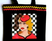 VERONICA HANDPAINTED TOTE, midlife madonna, red hat, gift for women, shoe tote, library tote, shopping tote, novelty tote, checkered